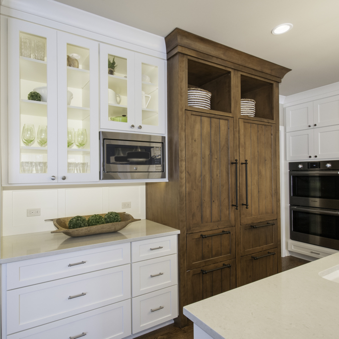 Kitchen redesign using both white and wood cabinets